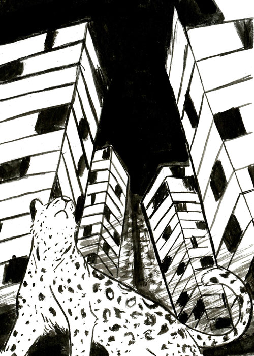 a leopard looking up at skyscrapers