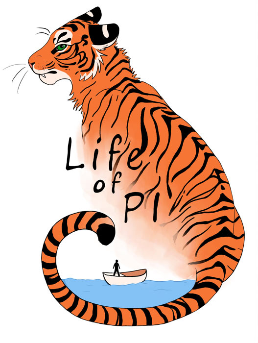 a tiger with its tail curled around water with a boat floating in it